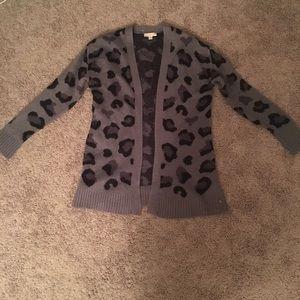 Cheetah print cardigan sweater